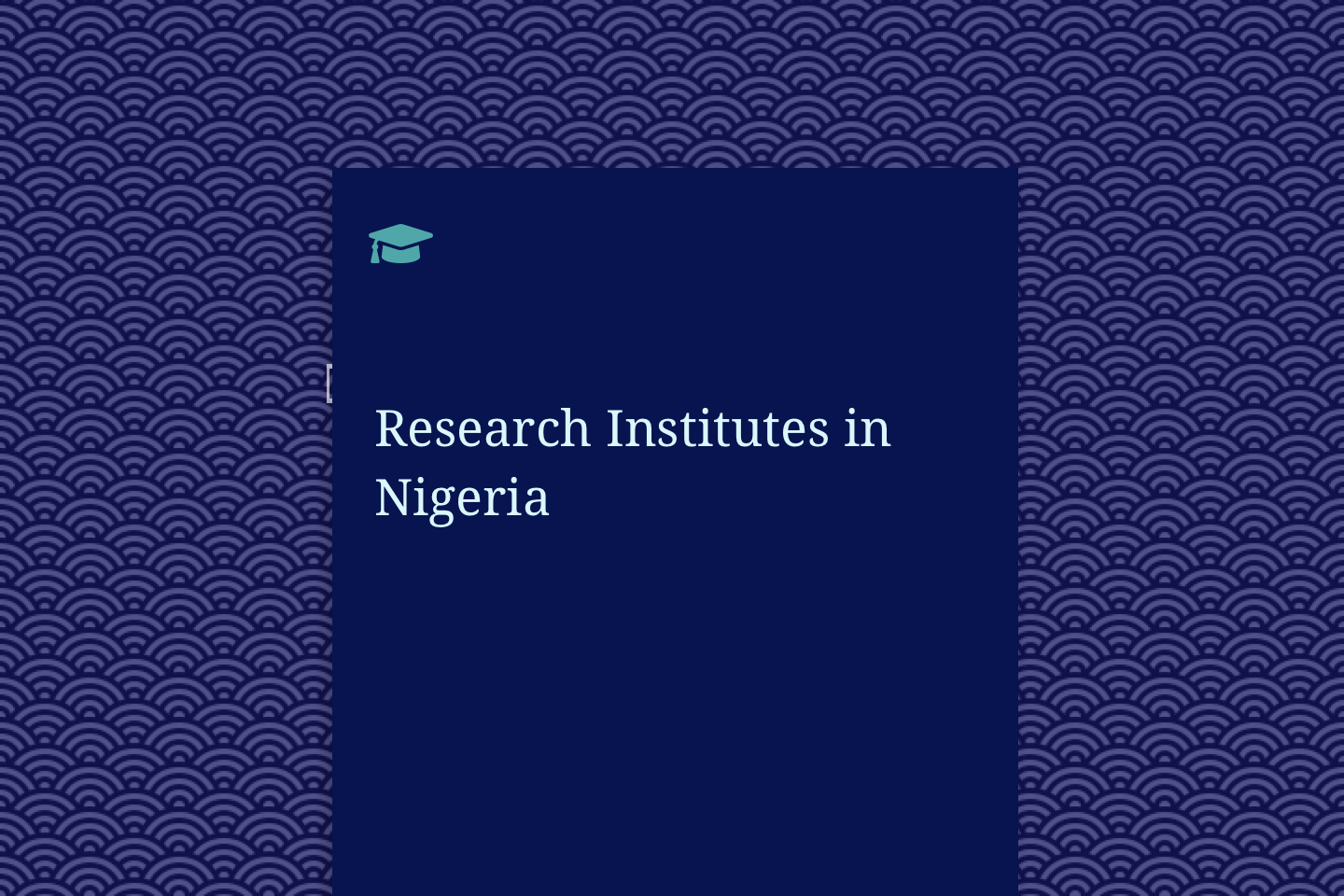 Research Institutes in Nigeria